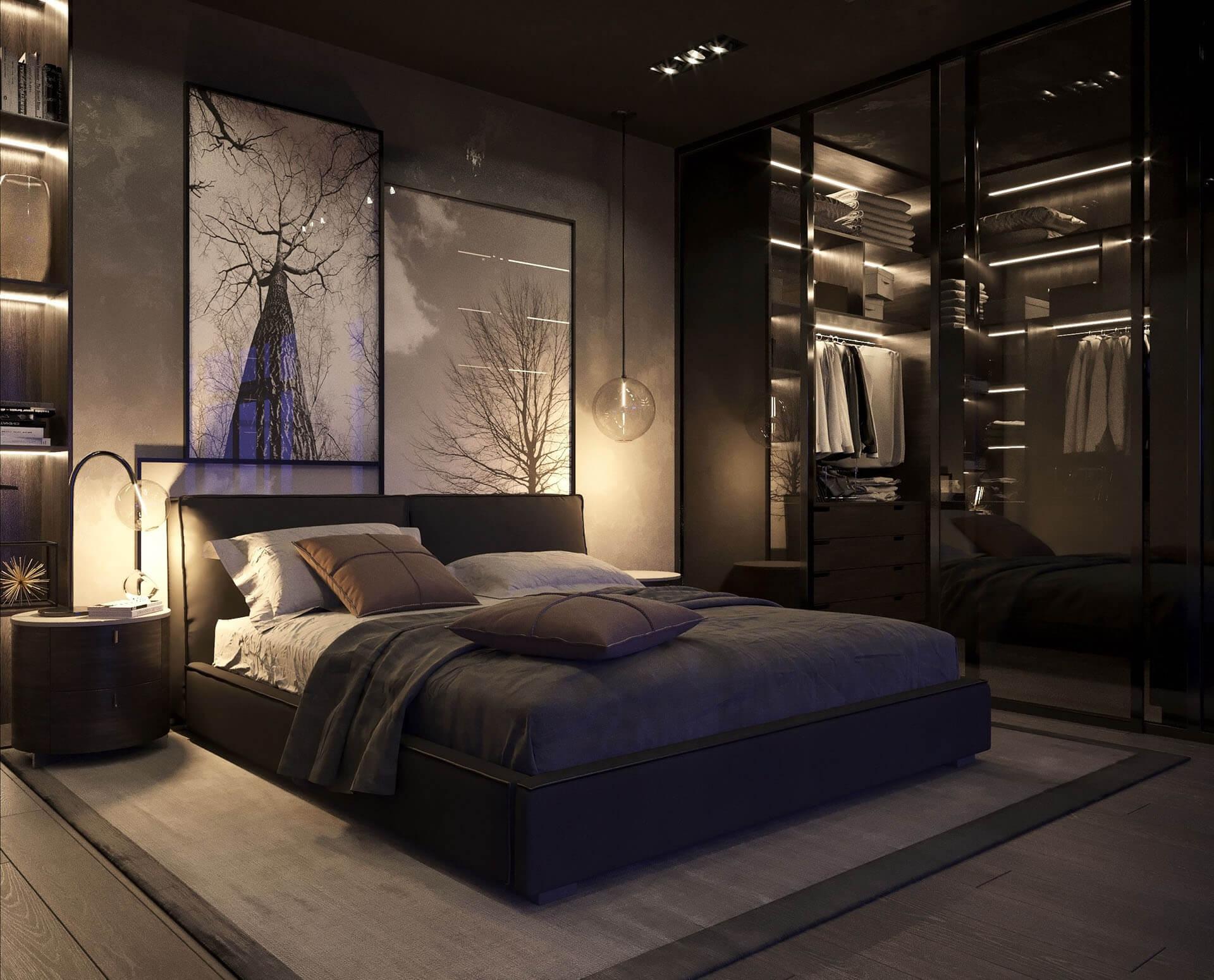 фото дизайна спальни мужчины помощью